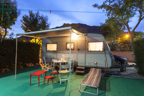 Tiny House Camping at Night with Lighting