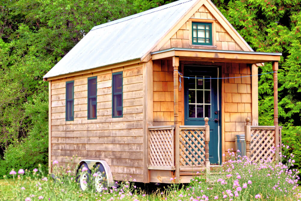 A tiny house on wheels