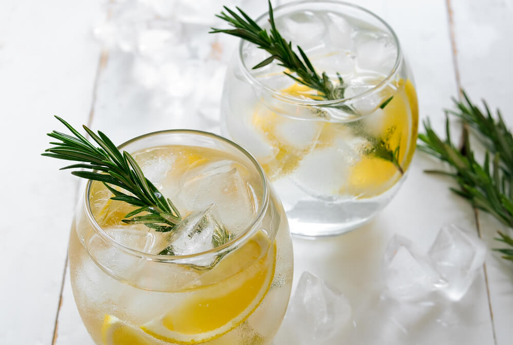 two glasses of gin and tonic with lemon wedges