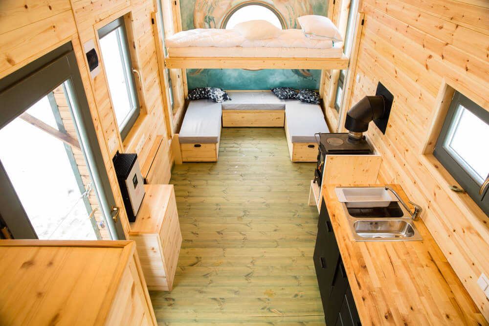 wooden interiors of a tiny house