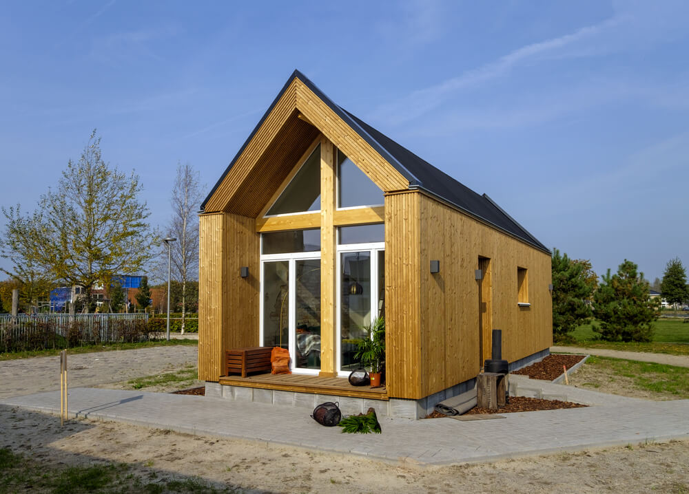 a tiny house with a unique design.