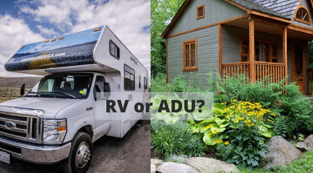 RVs and ADUs: White RV and Grey ADU