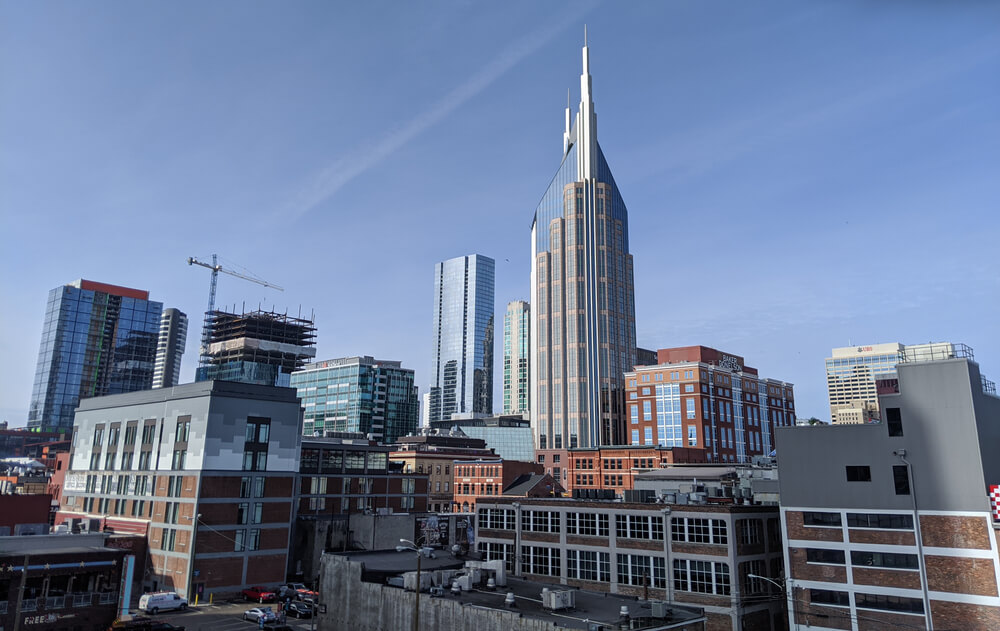 Nashville, TenneseeUSA - January 30, 2020 Nashville city skyline, including the AT&T Tower or Batman Building