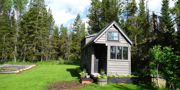Off Grid Tiny House on Wheels in Forest Clearing surrounded by Flowers