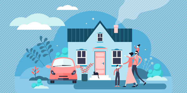 Family house vector illustration. Flat tiny modern property person concept. Real estate exterior with parents, children and cat. Happy everyday daily routine situation scene with harmony relationship.