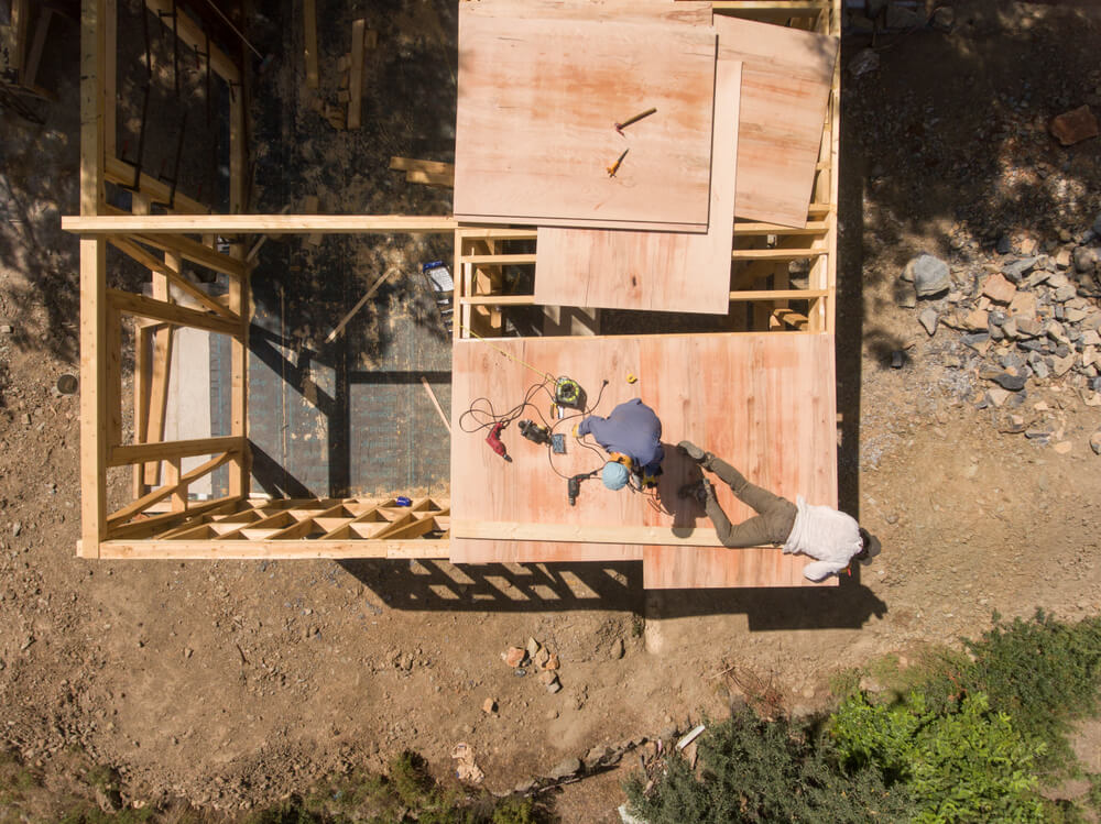 woodworkers building a tiny house