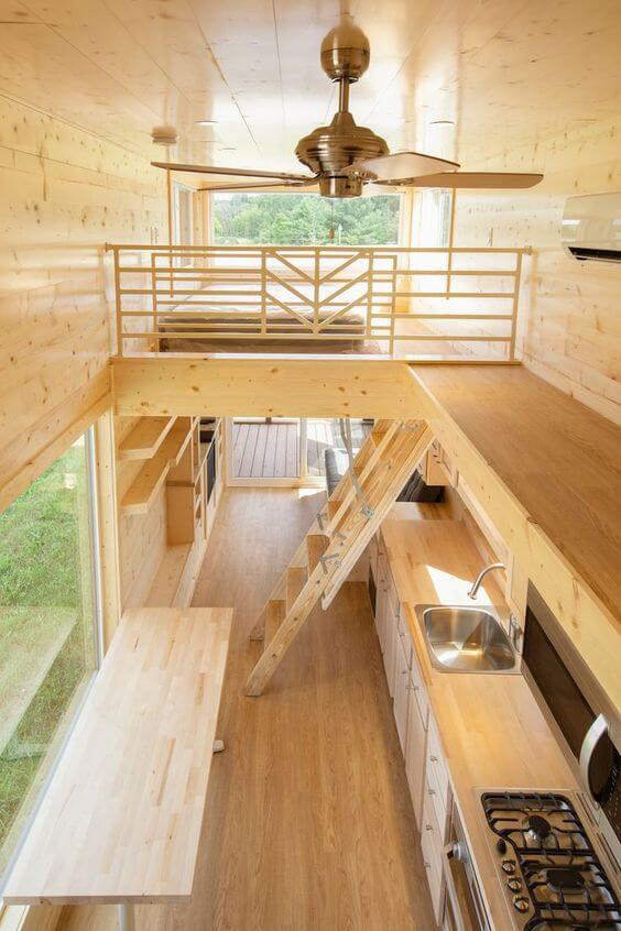 tiny house interior. clean and made of wood,
