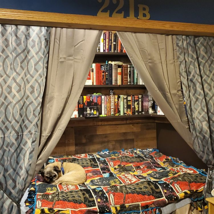 tiny house rooms - library above bed