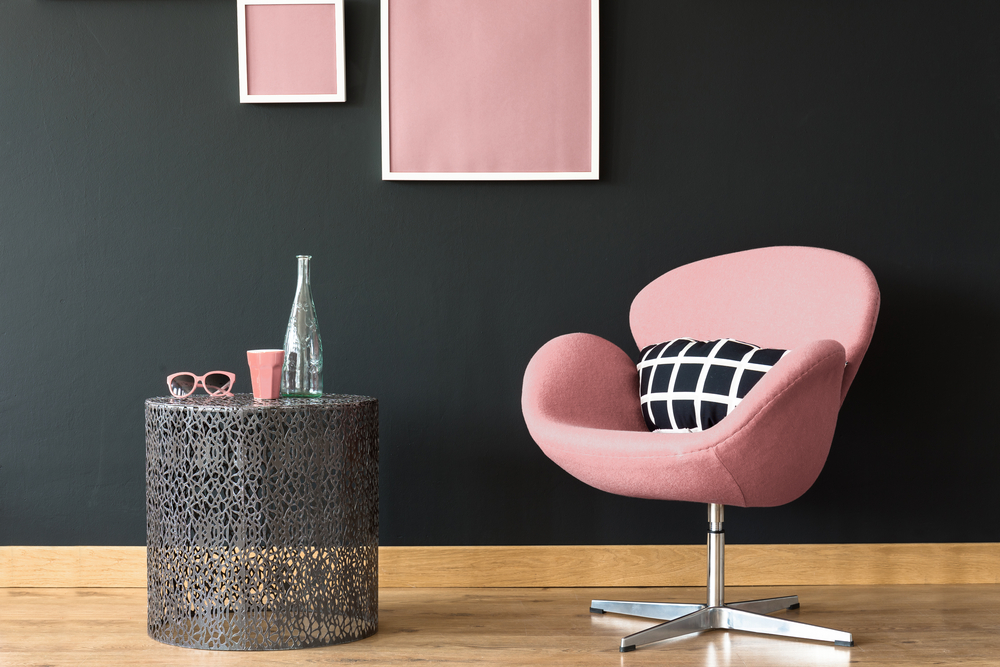 tiny house rooms - pink and black interior and furniture