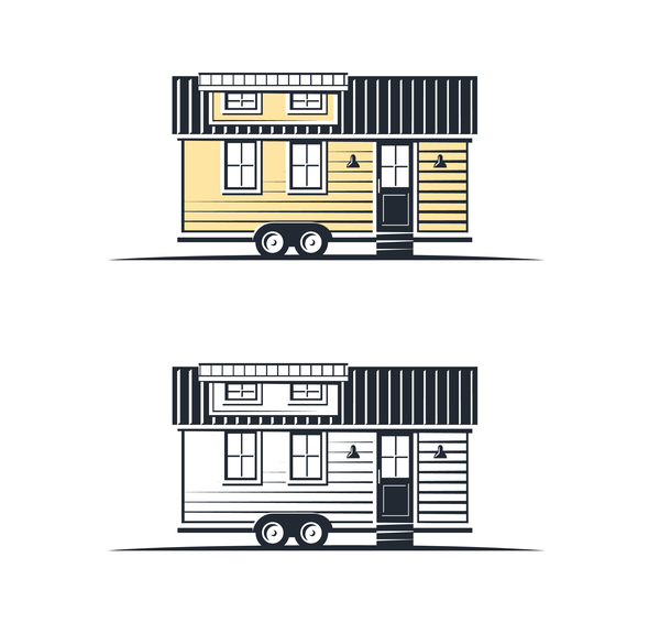 Tiny Living Homes Houses Logo Badge illustration